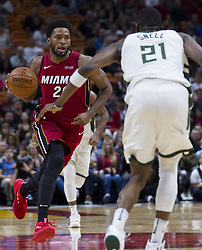 January 14, 2018 - Miami, FL, USA - Miami Heat forward Justise Winslow (20) drives the ball down the court in the second quarter against the Milwaukee Bucks on Sunday, Jan. 14, 2018 at the AmericanAirlines Arena in Miami, Fla. (Credit Image: © Matias J. Ocner/TNS via ZUMA Wire)