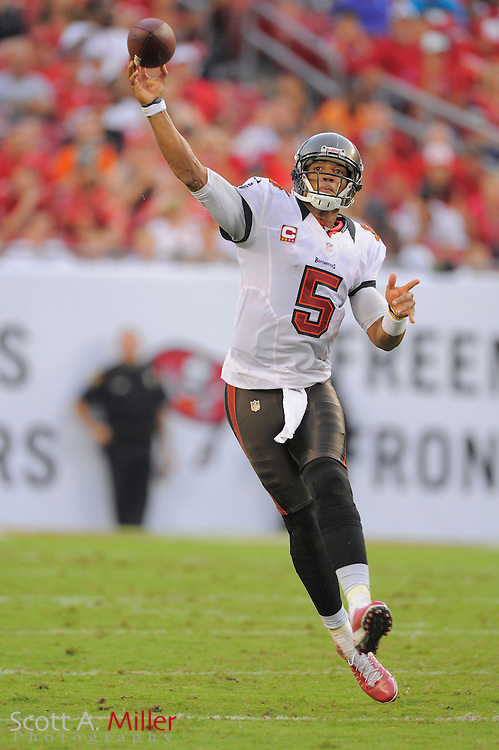 Tampa Bay Buccaneers quarterback Josh Freeman (5) looks to throw during the Bucs game against the Carolina Panthers at Raymond James Stadium  on September 9, 2012 in Tampa, Florida.  The Bucs won 16-10..©2012 Scott A. Miller...