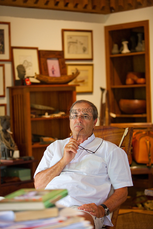 Author Paul Theroux at his office on the North Shore of the island of Oahu, Hawaii