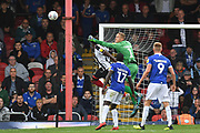 Oldham Athletic goalkeeper Daniel Iversen (1) clears ball during the EFL Sky Bet League 2 match between Grimsby Town FC and Oldham Athletic at Blundell Park, Grimsby, United Kingdom on 15 September 2018.