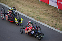 LONDON UK 29TH JULY 2016:  Brian Alldis. Prudential RideLondon Elite Handcycle Grand Prix at the London Velo Park. Prudential RideLondon in London 29th July 2016<br /> <br /> Photo: Jed Leicester/Silverhub for Prudential RideLondon<br /> <br /> Prudential RideLondon is the world&rsquo;s greatest festival of cycling, involving 95,000+ cyclists &ndash; from Olympic champions to a free family fun ride - riding in events over closed roads in London and Surrey over the weekend of 29th to 31st July 2016. <br /> <br /> See www.PrudentialRideLondon.co.uk for more.<br /> <br /> For further information: media@londonmarathonevents.co.uk