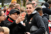 Dan Gosling (4) of AFC Bournemouth having a selfie with a fan on arrival before the Premier League match between Bournemouth and Tottenham Hotspur at the Vitality Stadium, Bournemouth, England on 11 March 2018. Picture by Graham Hunt.