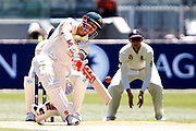 David Warner hits a six during the Magellan fourth test match between Australia v England at  the Melbourne Cricket Ground, Melbourne, Australia on 26 December 2017. Photo by Mark  Witte.