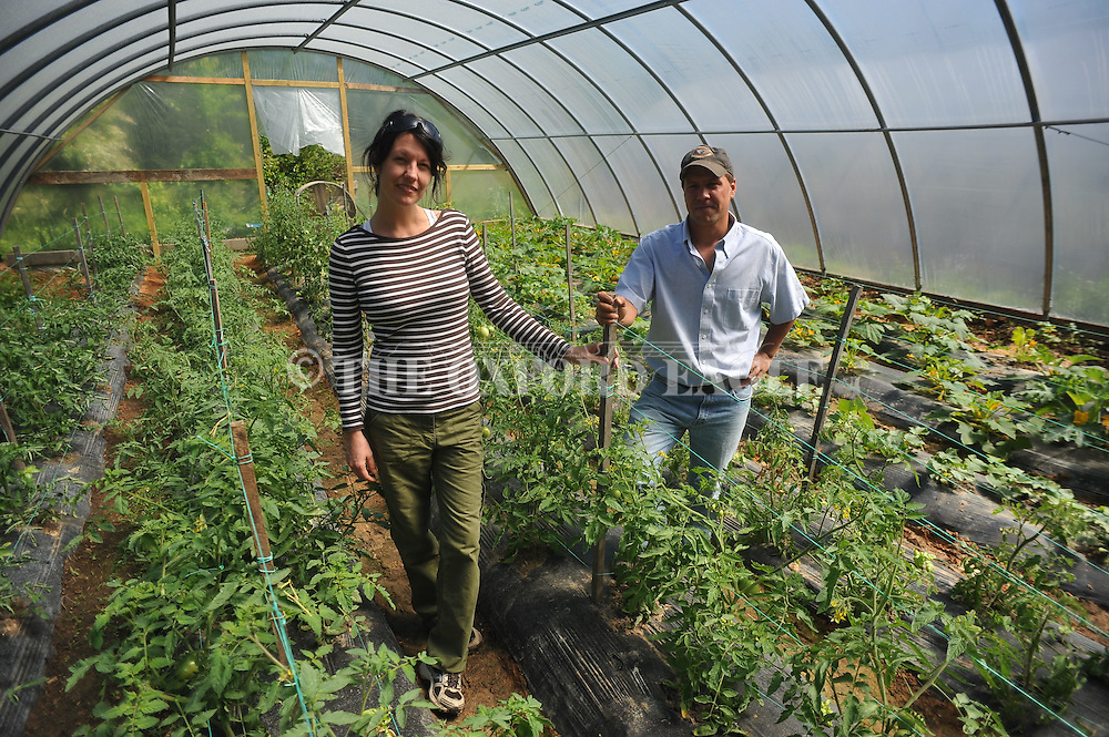 Jodi Seth (left) and Brad Solomon at Old Thyme Farms near Oxford, Miss. on Wednesday, April 18, 2012.