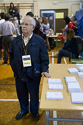 &copy; Licensed to London News Pictures. 01/10/2017. Barcelona, Spain.  <br /> <br /> A member of the organization keeping the ballots at Sedeta de Gracia&acute;s Centre Civic poll station.<br /> <br /> Students, their parents, associations and neighbours have organized to carry out &quot;playful activities&quot; during the weekend and keep open the Sedeta de Gracia&acute;s Centre Civic.<br />  <br /> Since early in the morning dozens of people wait at the college&acute;s door for the voting time under the rain.<br /> <br /> Mossos d&acute;Escuadra said they won&acute;t do nothing if that can destabilize social order.<br /> <br /> Catalonia is awaiting for today, October 1st, when the Spanish Region wants to vote in a self-determination referendum to get a independence.<br /> <br /> The Referendum&acute;s Law was passed on last September 6th at the Catalonian Parliament thanks to the votes of &quot;Junts pel Sí&quot; and &quot;CUP&quot;. Then it was suspended by the Spanish Constitutional Court, on next day.<br /> Carles Puigdemont, the President of the Government of&nbsp;Catalonia, said he would ignore that and he and his Government will continue with the Referendum.<br /> <br /> The Spanish Government has sent to Catalonia thousands of &quot;Guardia Civil&quot; and &quot;Policía Nacional&quot; officers (two of the Spanish forces and state security forces), to enforce the ruling of the Constitutional Court and avoid the voting process on next Sunday. They will work with the Mossos d&acute;Escuadra (the Autonomic police in Catalonia).<br /> <br /> To avoid the vote, the Spanish Government has prevented the opening of polling stations, some of which are schools.  <br /> <br /> Photo credit: Gustavo Valiente/LNP
