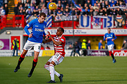 Andy Halliday rises for a header during the Ladbrokes Scottish Premiership match between Hamilton Academical FC and Rangers at The Hope CBD Stadium, Hamilton, Scotland on 24 February 2019.