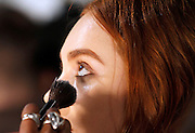 Models prepare backstage at Charlotte Ronson presentation during the Mercedes-Benz Fall/Winter 2015 shows at the Pavilion in Lincoln Center in New York City, New York on February 13, 2015.