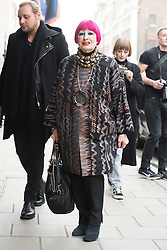 Zandra Rhodes arrives at the Jasper Conran show during London Fashion Week Autumn/Winter 2017 in London.  Picture date: Saturday 18th February 2017. Photo credit should read: DavidJensen/EMPICS Entertainment