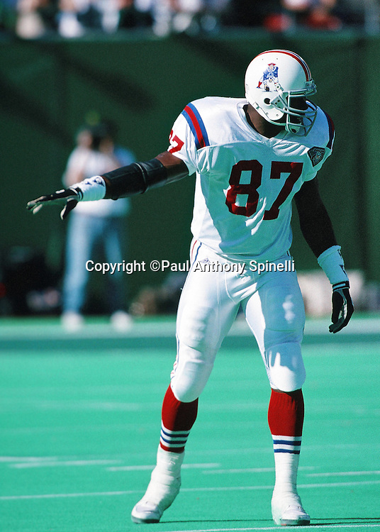 New England Patriots tight end Ben Coates (87) points as he gets set to go out for a pass during the NFL football game against the New York Jets on Oct. 16, 1994 in East Rutherford, N.J. The Jets won the game 24-17. (©Paul Anthony Spinelli)