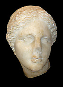 Marble sculpted Head of Aphrodite. Circa 150 BC. From Tralles (Modern Turkey).
