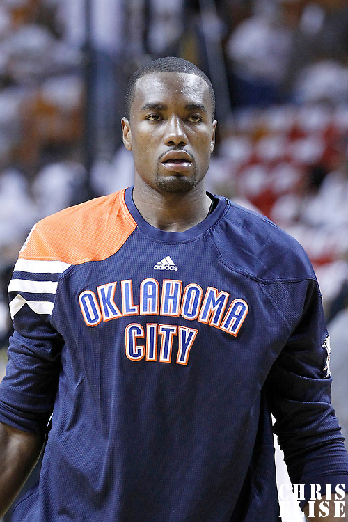 19 June 2012: Oklahoma City Thunder power forward Serge Ibaka (9) warms up prior to the Miami Heat 104-98 victory over the Oklahoma City Thunder, in Game 4 of the 2012 NBA Finals, at the AmericanAirlinesArena, Miami, Florida, USA.