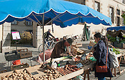 Rennes, FRANCE. General Views GV's. Rennes weekly regional market. Brittany,<br /> Vegetable's, Fruit, Flowers, Fish, Game, Meat, Cheese, local wine and cider, sold from stalls in the open and covered market  <br /> <br /> 09:13:37  Saturday  26/04/2014 <br /> <br />  [Mandatory Credit: Peter Spurrier/Intersport<br /> Images]