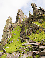 Hand-carved stone steps on Skellig Michael, Skellig Islands, Ireland