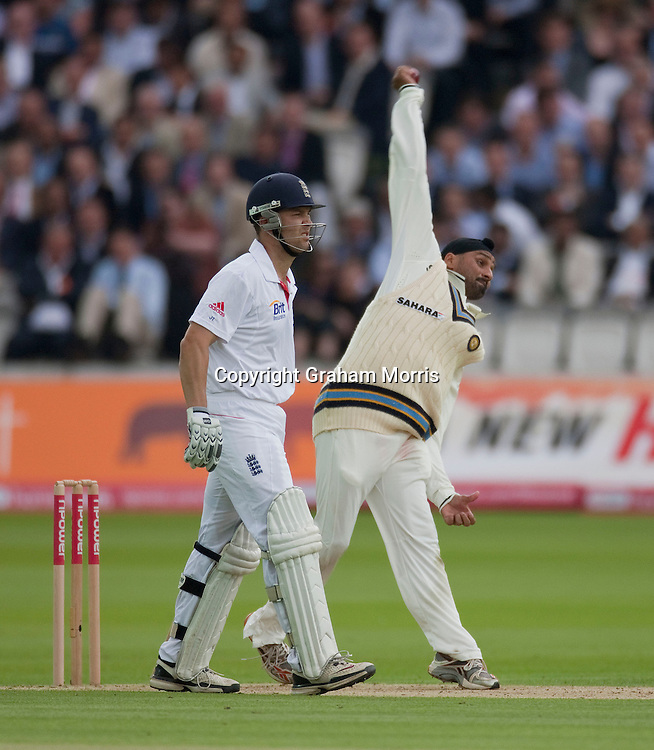 Harbhajan Singh bowls past Jonathan Trott during the first npower Test Match between England and India at Lord's Cricket Ground, London.  Photo: Graham Morris (Tel: +44(0)20 8969 4192 Email: sales@cricketpix.com) 21/07/11