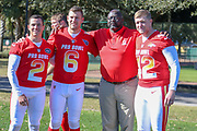 Jan 25, 2019; Kissimmee, FL, USA; New York Jets kicker Jason Myers (2) Tennessee Titans punter Brett Kern (6) and Denver Broncos long snapper Casey Kreiter (42) with Los Angeles Chargers special teams coach Keith Burns after the NFC team photo for the 2019 Pro Bowl at ESPN Wide World of Sports Complex. (Kim Hukari/Image of Sport)