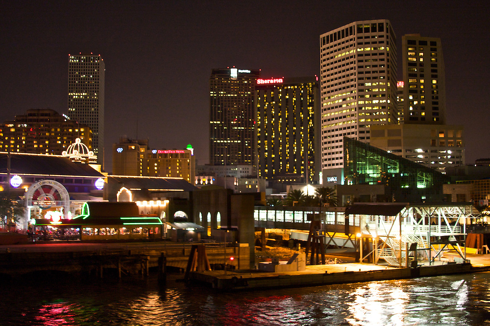 New Orleans at Night, From Canal St. Landing, Louisiana, USA