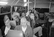 Skins, Punks, Lee, Lorp and Neville on the Bus, UK, 1980s.