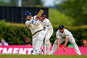Steven Finn of Middlesex hits four runs during the Specsavers County Champ Div 2 match between Middlesex County Cricket Club and Glamorgan County Cricket Club at Radlett Cricket Ground, Radlett, Herfordshire,United Kingdom on 17 June 2019.