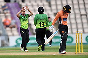 Claire Nicholas and Rachel Priest of Western Storm celebrate the wicket of Danielle Wyatt during the Women's Cricket Super League match between Southern Vipers and Western Storm at the Ageas Bowl, Southampton, United Kingdom on 11 August 2019.