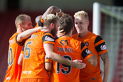 Dundee United's Tony Andrue (19) cele scoring their second goal. Dunfermline 1 v 3 Dundee United, Scottish Championship game played 10/9/2016 at East End Park.