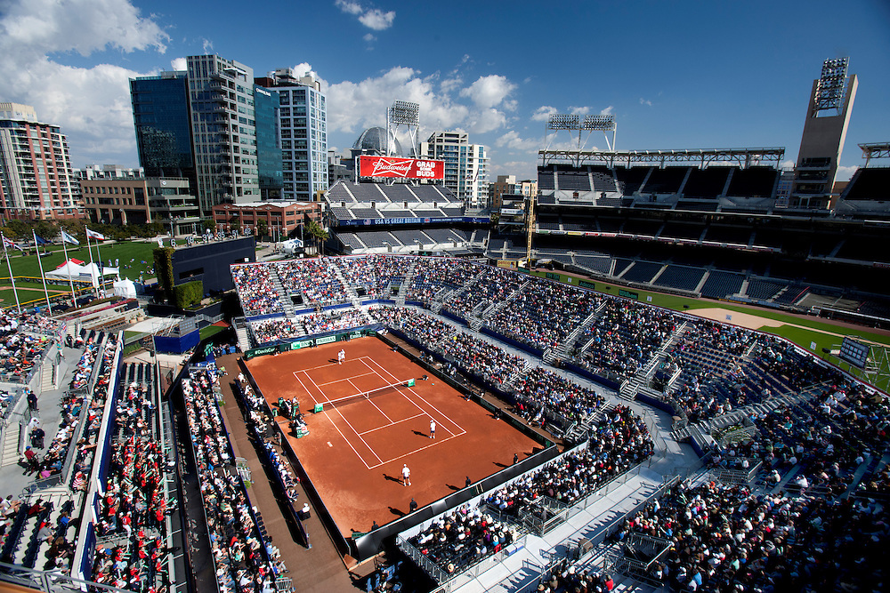 San Diego, CA - February 1st, 2014 - Overview of the  stadium. Bob Bryan with partner Mike Bryan (USA)  plarying against the team of Dominic Inglot/Colin Fleming (Great Britain) in a Davis Cup  tennis match between USA and Great Britain held at Petco Park in San Diego, CA. USA won 6-2, 6-3, 3-6, 6-1. Photo by Wally Nell/ZUMA Press.