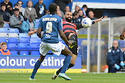 Queens Park Rangers midfielder Sandro stretches to clear during the Sky Bet Championship match between Birmingham City and Queens Park Rangers at St Andrews, Birmingham, England on 17 October 2015. Photo by Alan Franklin.