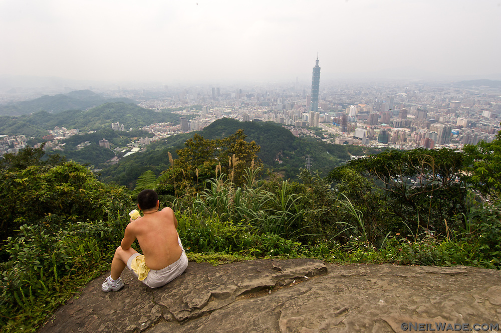 """95 Peak"" is a small mountain next to Taipei, Taiwan.  It's ans easy climb from the city center and affords beautiful views."