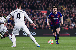 February 6, 2019 - Barcelona, Spain - 04 Ivan Rakitic of FC Barcelona defended by 04 Sergio Ramos of Real Madrid during the semi-final first leg of Spanish King Cup / Copa del Rey football match between FC Barcelona and Real Madrid on 04 of February of 2019 at Camp Nou stadium in Barcelona, Spain  (Credit Image: © Xavier Bonilla/NurPhoto via ZUMA Press)