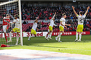Hull City players appeal for a goal after a goal line clearance by Middlesbrough defender Aden Flint (24) during the EFL Sky Bet Championship match between Middlesbrough and Hull City at the Riverside Stadium, Middlesbrough, England on 13 April 2019.