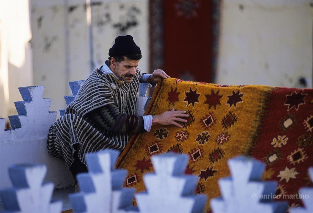 Tangier,  the old city, medina. Carpets washing.