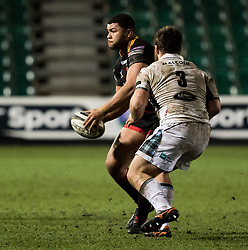 Dragons' Leon Brown looks to get the ball away<br /> <br /> Photographer Simon King/Replay Images<br /> <br /> Guinness PRO14 Round 14 - Dragons v Glasgow Warriors - Friday 9th February 2018 - Rodney Parade - Newport<br /> <br /> World Copyright © Replay Images . All rights reserved. info@replayimages.co.uk - http://replayimages.co.uk