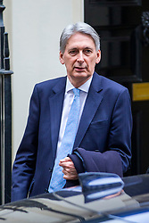 © Licensed to London News Pictures. 16/01/2019. London UK. Chancellor of the Exchequer Philip Hammond leaves number 11 Downing Street this morning after the Prime Minister's brexit deal was voted down in Parliament last night. Photo credit: Andrew McCaren/LNP
