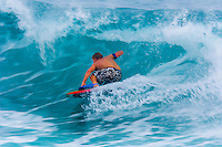 Boogie boarding, Kailua-Kona, Island of Hawaii (Big Island), Hawaii, USA