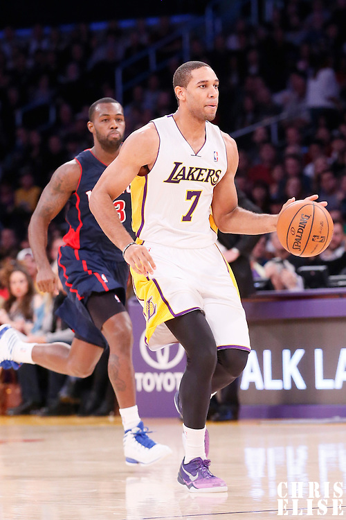 17 November 2013: Los Angeles Lakers small forward Xavier Henry (7) brings the ball upcourt during the Los Angeles Lakers 114-99 victory over the Detroit Pistons at the Staples Center, Los Angeles, California, USA.