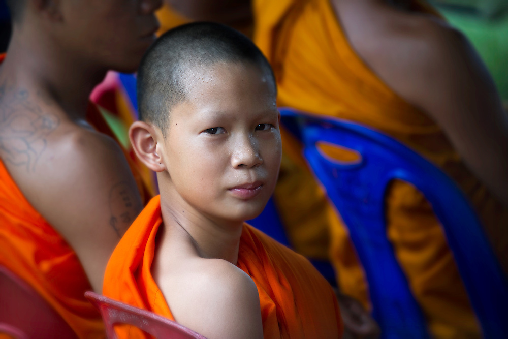 A young monk at a festival in Nakhon Nayok, Thailand