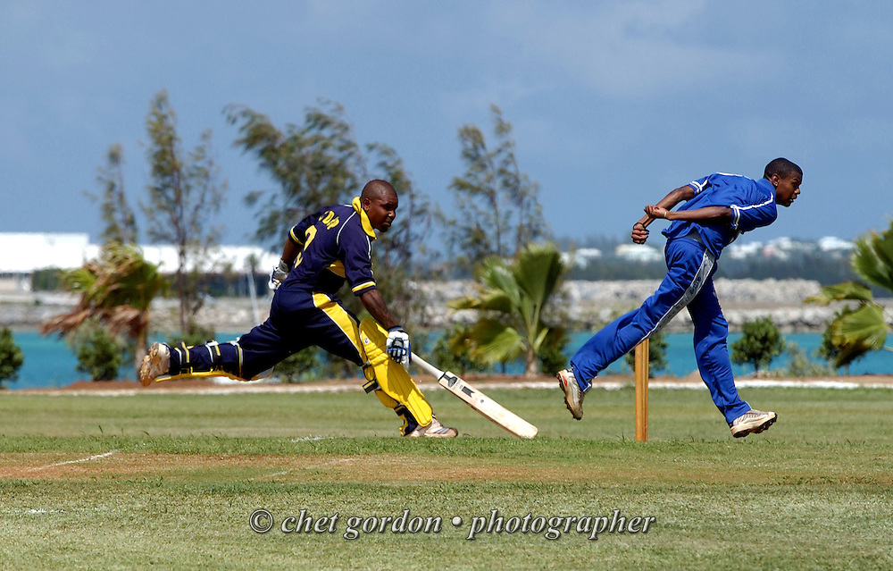 St. David's cricket batter scores a run during their match against the Cleveland Cricket Club at the Bailey's Bay Cricket Club in Bailey's Bay, Bermuda on Saturday, June 6, 2009.