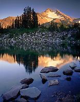 Mount Jefferson seen from Bays Lake Mount Jefferson Wilderness Oregon USA