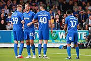 AFC Wimbledon striker Joe Pigott (39) AFC Wimbledon striker James Hanson (18) AFC Wimbledon midfielder Anthony Wordsworth (40) AFC Wimbledon striker Andy Barcham (17) prepare a wall during the EFL Sky Bet League 1 match between AFC Wimbledon and Sunderland at the Cherry Red Records Stadium, Kingston, England on 25 August 2018.