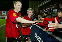 MOLENBEEK 30/04/2005  <br /> SPORT - FOOTBALL - VOETBAL / <br /> FC BRUSSELS - SK LIERSE / <br />  JOIE - VREUGDE / DAVY THEUNIS  - BJØRN RIISE /<br /> PHOTO: DIGITALSPORT