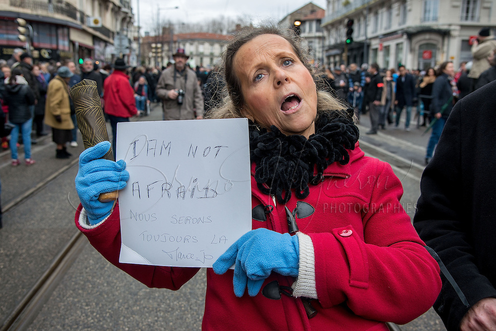 In St. Etienne, which knew 2 bomb alerts since last Thursday, more than 60.000 people, one quarter of the city's population, have participated in the republican walk on January 11, 2015 in Saint Etienne, France.  (Photo by Bruno Vigneron/Getty Images)
