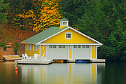 Boathouse rflection in Lake Joseph<br /> Muskoka COuntry<br /> Ontario<br /> Canada