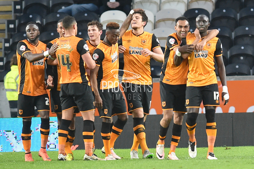 Hull city celebrate Hull City midfielder Mohammed Diame (17) scoring goal to go 2-0 up  during the Sky Bet Championship match between Hull City and Brentford at the KC Stadium, Kingston upon Hull, England on 26 April 2016. Photo by Ian Lyall.