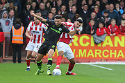 Liam Shephard and Conor Thomas  during the EFL Sky Bet League 2 match between Cheltenham Town and Forest Green Rovers at Jonny Rocks Stadium, Cheltenham, England on 2 November 2019.