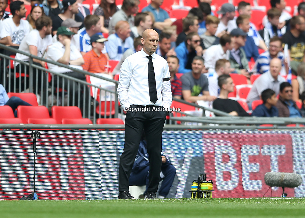 May 29th 2017, Wembley Stadium, London, England; EFL Championship playoff final, Reading Manager Jaap Stam looks on from the touchline