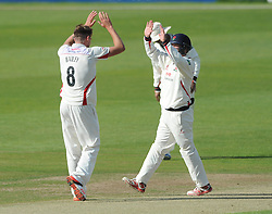 Tom Bailey celebrates with Karl Brown as Will Tavare of Gloucestershire is out for LBW - Photo mandatory by-line: Dougie Allward/JMP - Mobile: 07966 386802 - 07/06/2015 - SPORT - Football - Bristol - County Ground - Gloucestershire Cricket v Lancashire Cricket - LV= County Championship