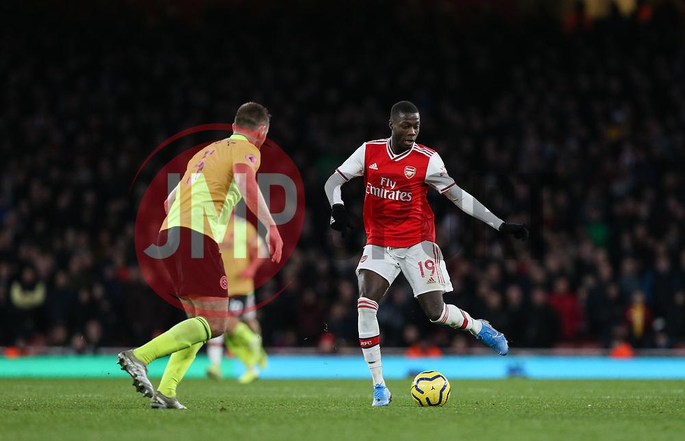 Nicolas Pepe of Arsenal passes the ball - Mandatory by-line: Arron Gent/JMP - 18/01/2020 - FOOTBALL - Emirates Stadium - London, England - Arsenal v Sheffield United - Premier League