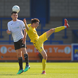 TELFORD COPYRIGHT MIKE SHERIDAN Ross White of Telford battles for a header during the National League North fixture between AFC Telford United and Nantwich Town on Saturday, September 21, 2019.<br /> <br /> Picture credit: Mike Sheridan<br /> <br /> MS201920-020