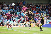Scunthorpe United's Rory McArdle (23) misses with this header during the EFL Sky Bet League 1 match between Scunthorpe United and Rotherham United at Glanford Park, Scunthorpe, England on 12 May 2018. Picture by Nigel Cole.