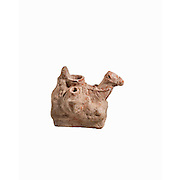A Nebatean terracotta vessel in the shape of a camel carrying two juga 1sy century BCE