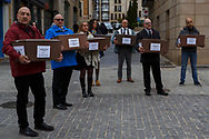 14/04/2018. Coffins containing the bodies of victims of Spain Civil War exhumed in Cobertelada and Calatañazor are carried along the streets in center of Soria during a homage to hand the remains to their relatives on April 14, 2018 in Soria, Spain. La Asociacion Soriana Recuerdo y Dignidad (ASRD) 'The Soria Association for Memory and Dignity' celebrated a tribute to hand over the remains of civil war victims to their families. The Society of Sciences of ARANZADI helped with the research, exhumation and identification of the bodies, after villagers passed the information about the mass grave, 81 years after the assassination took place, to the ASRD. Seven people were assassinated around August 25, 1936 by Falangists, as part of General Francisco Franco armed forces, and buried in the 'Fosa de los Maestros' (Teachers Mass Grave) near Cobertelada, Soria, after being taken from prison of Almazan during the Spanish Civil War. Five of them were teachers in the region, and also friends of Spanish writer Antonio Machado. The other two still remain unidentified. Another body was assassinated by Falangists accompanied by a priest in 1936, and was exhumed on 23 September of 2017 near Calatañazor, Soria. It belonged to Abundio Andaluz, a politician, lawyer and musician in Soria.<br /> Spain's Civil War took the lives of thousands of people on both sides, and civilians. But Franco continued his executions after the war has finished. Teachers, as part of the education sector, were often a target of Franco's forces. Spanish governments has never done anything to help the victims of the Civil War and Franco's dictatorship while there are still thousands of people missing in mass graves around the country. (© Pablo Blazquez)